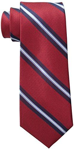 Oxford Ribb Stripe Tie, Red, One Size ()
