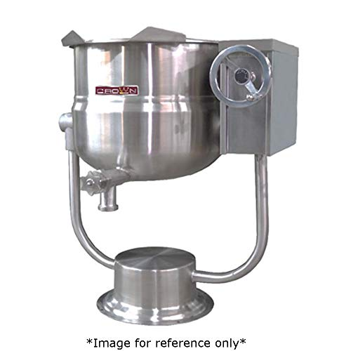 Crown DPT-40 Direct Steam Tilting Kettle with 40 Gallon Capacity, 2/3 Jacket & Pedestal Base Direct Steam Tilting Kettle