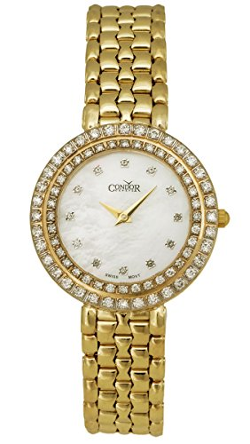 Condor 14kt Gold & Diamond Womens Luxury Swiss Watch Quartz CDRHCMOP 14kt Gold Ladys Wrist Watch