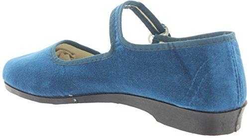 azul mujer Funshopping MIK Jeans para Blue de Bailarinas terciopelo Jeans Blue azul zXrzw
