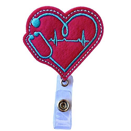 EKG Heart Nurse Retractable Badge Reel Holder – Nursing Name Badge Holder – Felt Badge Reel for Nurses, Students & Doctors– Cute & Practical ID Badge Holder – Alligator Clip – Easy to Use