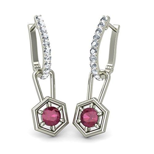 18K Or Blanc 0,33CT TW Round-cut-diamond (IJ | SI) et rubis Boucles d'oreilles créoles