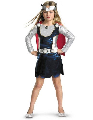 Thor Female Costumes (Marvel Universe Thor Girl Costume, Red/White/Blue, X-Small)