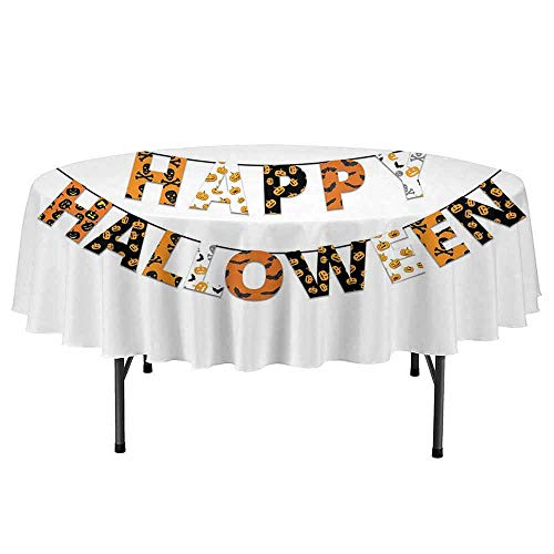Douglas Hill Halloween Easy to Care for Leakproof and Durable Round tablecloths Happy Halloween Banner Greetings Pumpkins Skull Cross Bones Bats Pennant Outdoor Picnic D47 Inch Orange Black White ()