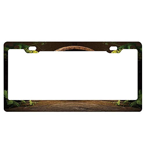(ASLGlicenseplateframeFG Still Life of Wine with Wooden Keg Ancient Old Fashioned Wine Keeper Tasting Scene Aluminum Metal License Plate Cover Licenses Plate Covers for Vehicles)