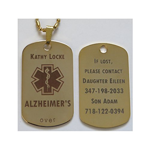 Personalized Custom Engraved Alzheimer's Dementia ID Tag Pendant Necklace in (Health Engraved Pendant)
