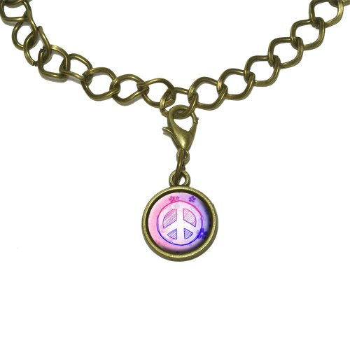 Peace Sign Flowers Pink Purple Charm with Chain Bracelet