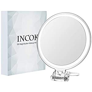 "10X 1X Double Sided Magnifying Makeup Mirror - 5"" High Definition Magnified Makeup Mirror Adjustable Multi-use Magnification Travel Mirror with Handle Portable Transparent & Round (5"")"