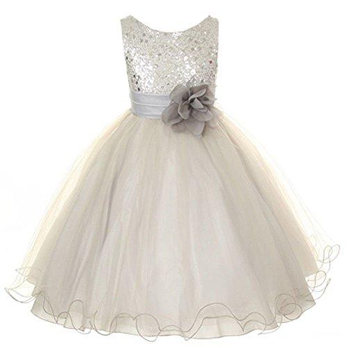 YNChiffonier Fashion Flower Girls Dress Sequin Glitter Beaded Dress Wedding Prom Bridesmaid Silver (Mccalls Bridesmaid Patterns)
