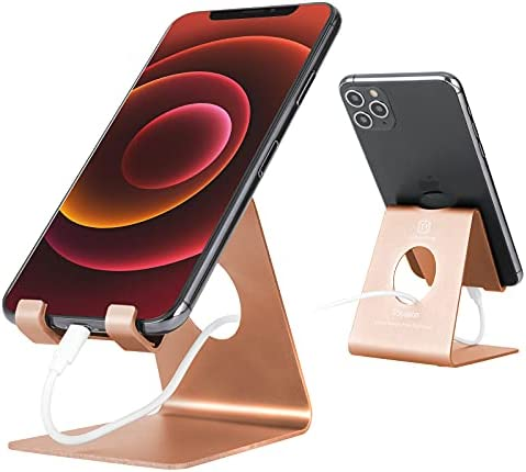 Cell Phone Stand , Toiyason Desk Phone Holder, Cradle, Dock, Compatible with All 4-8inch Phones, Office Kitchen Traveling Accessories T1 Rose Gold