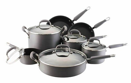 kitchenaid pots and pans amazoncom kitchenaid gourmet hard anodized nonstick 12piece cookware set kitchen dining