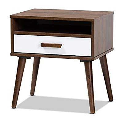Baxton Studio End Tables, One Size, Walnut/White - Constructed from rubber wood and engineered wood Walnut brown finish Three (3) shelves - living-room-furniture, living-room, end-tables - 41VXALu9XnL. SS400  -