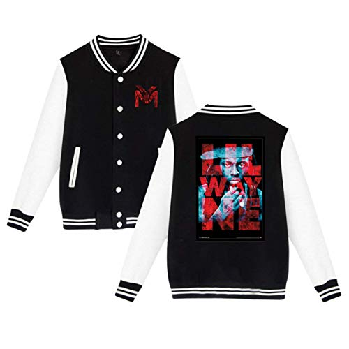 X Q X Baseball Uniform Jacket Sport Coat, Lil Dedication 2 Wayne Cotton Sweater for Women Men Boy Girls Black
