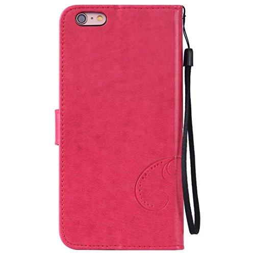 Papillon fleurs en relief rétro Premium PU Leather Case magnétique Flip Stand Wallet Case couverture avec poignet de main pour iPhone 6 6s Plus ( Color : Red , Size : IPhone 6s Plus )