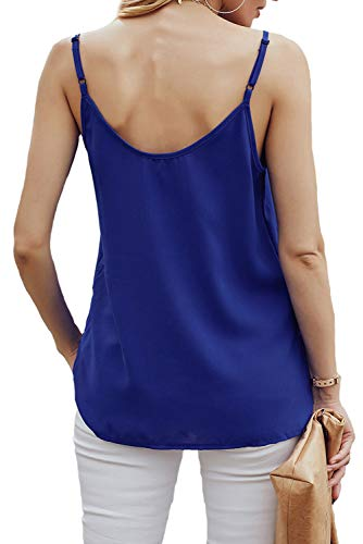 RSM &CHENG Women's Button Down V Neck Strappy Tank Tops Loose Casual Sleeveless Shirts Blouses(Blue,L)