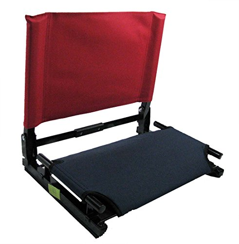 Patented Navy Bottom with Red Back Canvas Stadium Chair Bleacher Seat