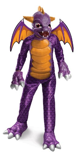 Boy's Deluxe Skylanders Spyro Costume, Purple ,Large 12-14 (Skylander Costumes For Boys)