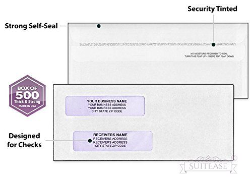 500 Security Envelopes for Checks, SELF-Seal, Double Window for Addresses, Inner Pattern for Security Mailing, Ideal for Quickbooks Checks, Perfect Fit Laser Check Envelope, 8 5/8 X 3 5/8 Box of 500- ()