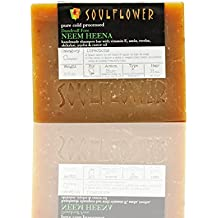 Neem Oil-Heena Shampoo Soap Bar (Pack of 2) by Soulflower|Anti-Dandruff Hair Care Treatment for Itchy/Dry Scalp Relief |Organic|Handmade|Ayurvedic, All Natural Vegan Formula|for Men & Women 5.3 oz