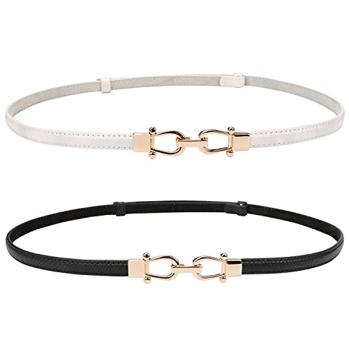 High Waist Belt - Genuine Leather Skinny Belt for Women Thin Waist Belts for Dresses Up to 37