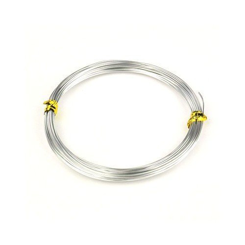 1 x Silver Aluminium Craft Wire 10 Metre x 1.5mm Coil - (HA16030) - Charming Beads Something Crafty Ltd