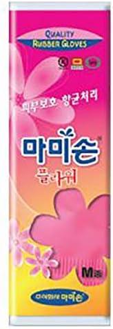 [Florian Mamison] Mamison Flower Pink Kitchen Rubber Glove [Medium Size 1 Pairs], Reusable Waterproof Household Dishwashing Cleaning Rubber Gloves, Non-Slip Kitchen Glove