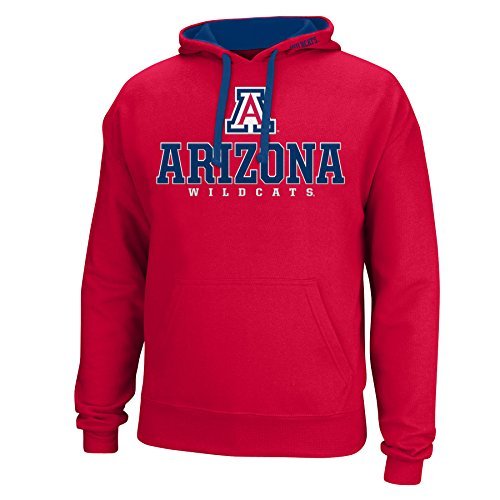 J America NCAA Arizona Wildcats Men's Logo School Name Foundation Hoodie, Medium, Red/Navy