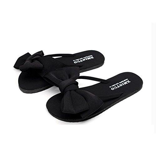 Indossano CHENGXIAOXUAN Infradito Spiaggia Alla Nuove Romane Le Sandali Fiocchi da Dolci nero Sandali Scarpe Ciabatte Pantofole Donne Piatte Moda Estivi wzan0rAZz