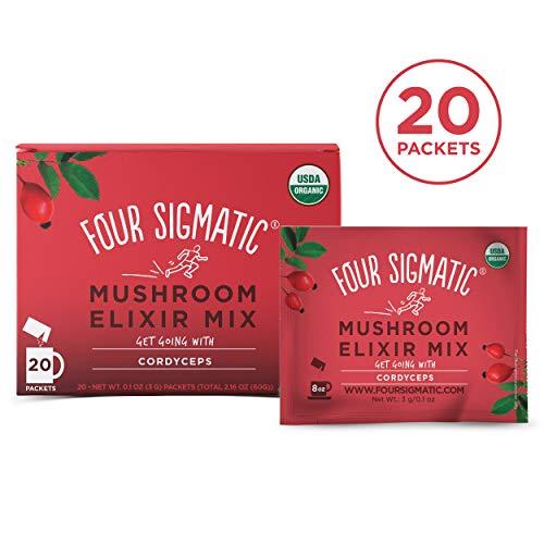 (Four Sigmatic Cordyceps Mushroom Elixir, USDA Organic, Energize, Vegan, Paleo, 20 Count)