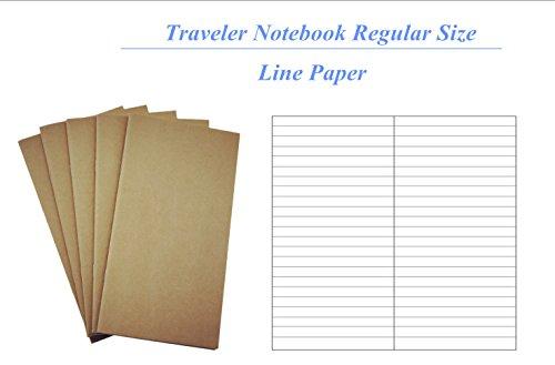 """Traveler Notebook Refill Set ,160 Sheet / 320 Page / 100gsm Thick Traveler notebook Standard & Regular size insert ( 8.5"""" x 4.5"""") --Standard line"""