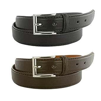 Men's Black and Brown Belts (2-Pack) (30-32)