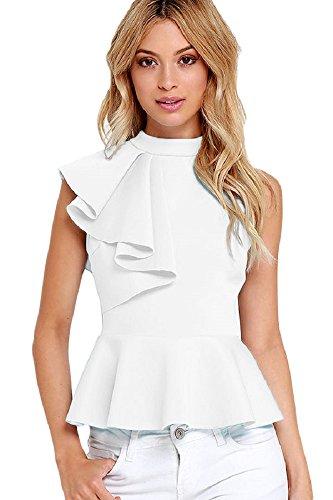 QUEENIE VISCONTI Women Summer Tops and Blouses With Ruffles High Neck Peplum Tank Shirts White (Mesh Ruffle Halter Top)