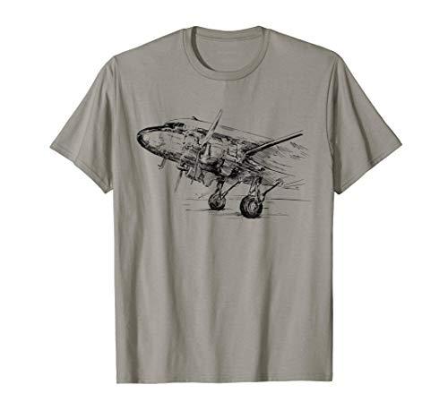 Vintage DC-3 Airplane Shirt For Men Husband Dad Grandfather (Airplane T-shirt Tee)