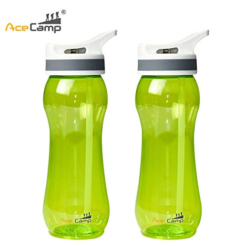 AceCamp TRITAN Kids Wate Bottle for Toddlers100% BPA-Free Odor-Free Plastic Water Bottle with Straw Travel Colorful Water Bottle with Straw for Hiking/Camping/Back to School,2 Pack(Green-600ml)