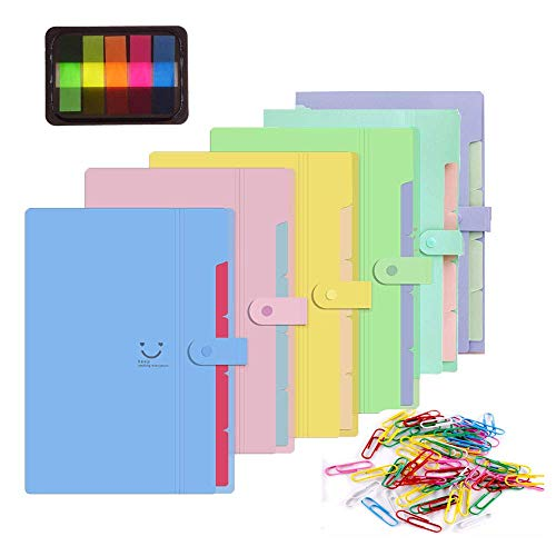 TLBTEK 6 Pack Plastic Expanding File Folders 5 Pockets A4 Letter Size Colorful Accordion Document Expandable File Folder with 100Pcs File Folder Labels and 60Pcs Colored Paper Clips ()