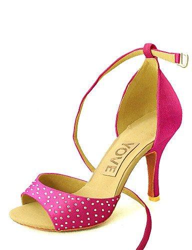 Giallo Personalizzabile Da Misura Salsa Giallo Viola Rosso Ballo Donne Latino Su Scarpe Tacco Delle Nero Blu Shangyi Raso Rosa Bianco qCdHH