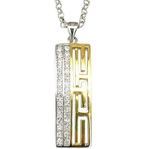 Rectangle Art Pendant Necklace Charm Chain Fashion Design Costume Jewelry Two Tone Crystal Clear 20