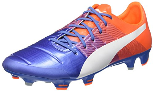 Puma evoPower 1,3 FG, Botas de Fútbol, Yonder/Puma White Blue/Orange Shocking, 12