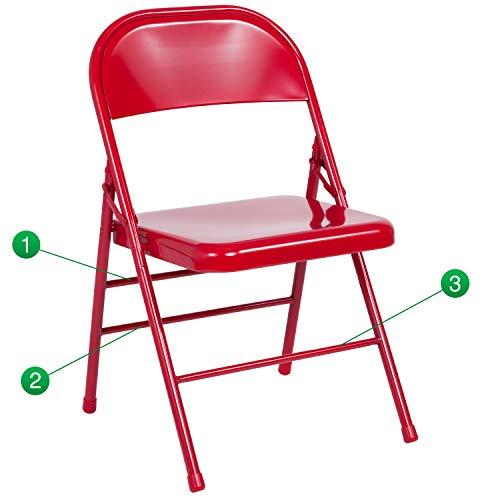Table Tennis Flash Game - Flash Furniture Hercules Series Triple Braced & Double Hinged Red Metal Folding Chair