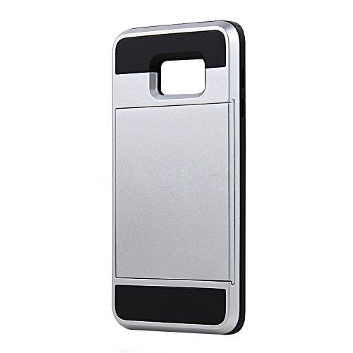 Telefon-Kasten - SODIAL(R)Karte Tasche Stossfeste Duenne Hybrid Mappe Abdeckung fuer Samsung Galaxy S6 Edge Plus Silber