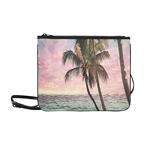 Vintage Tropical Palm Tree Beach At Sunset Pattern Custom High-grade Nylon Slim Clutch Bag Cross-body Bag Shoulder ()
