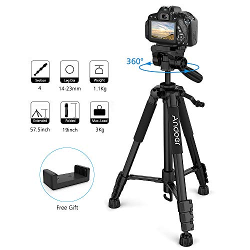 Andoer 57.5-inch 14.65cm Camera Tripod, Compact and Lightweight Travel Aluminum Camera Tripod for Canon Nikon Sony DSLR SLR Camcorder with Carry Case