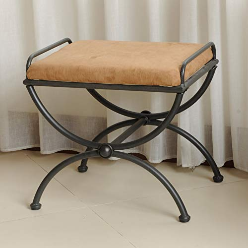 (Modern Vanity Bench with Wide Padded Seat, Soft Cotton Blend Upholstery, Convenient Handles on the Sides for Accessibility, Elegant Half-Moon Shaped Legs, Wrought Iron Frame, Beige + Expert Home Guide)