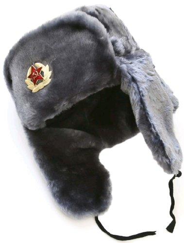 Hat Winter Russian Ushanka (Russian ushanka winter hat Gray-60 with Soviet Soldier insignia)