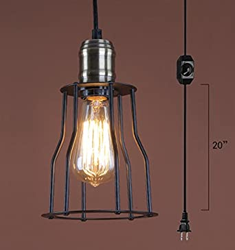 Anye iron wire lampshade pendant lights industrial retro style anye iron wire lampshade pendant lights industrial retro style ceiling lights with 15ft ul certification dimmable greentooth Gallery