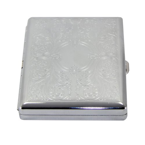 Victorian Style Classic Metallic Silver Color Double Sided King and 100s Cigarette Case Holder and Credit Card RFID Protective Security Wallet (Magic Mirror) ()