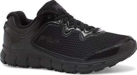 Fila de memoria Fresh Start antideslizante zapato de trabajo Black, Black, Metallic Silver