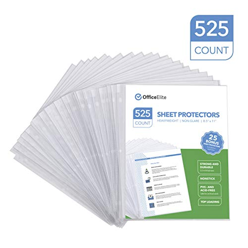 525 Non-Glare Heavyweight Sheet Protectors - 3.3 MIL Thickness - Reinforced 3 Hole Design - Protects Photos and 8.5