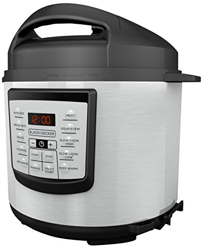 BLACK+DECKER 6 quart 11-in-1 Cooking Pot, Stainless Steel, Pressure Cooker, Slow Cooker, Multi-Cooker, PR100 (Crock Pot Trivet)