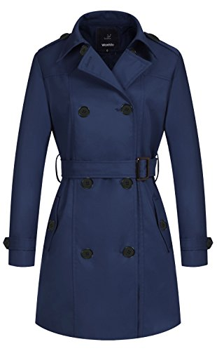Wantdo Women's Double-Breasted Long Trench Coat with Belt Navy Large